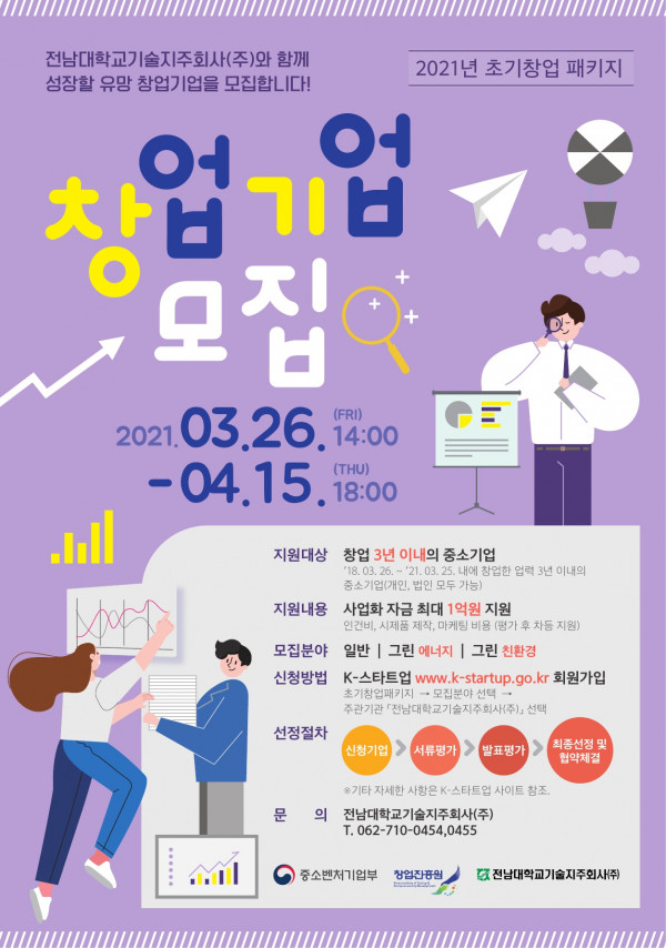 [기업지원공고 2021-8호] 전남대학교기술지주회사(주) 2021년 초기창업패키지 창업기업모집 [wr_num]번째 이미지